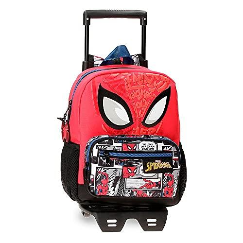 Marvel Spiderman Comic Mochila Preescolar con Carro Rojo 23x28x10 cms Poliéster 6,44L