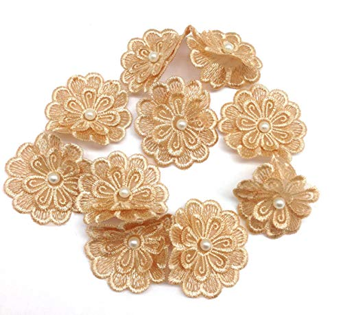 PEPPERLONELY 10PC Gold Pearl Chiffon Flower Embroidered Lace Edge Trim Ribbon, 2 Inch