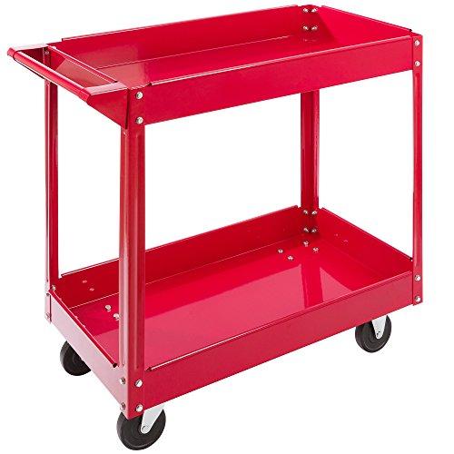 Arebos Carro de Taller con Ruedas | Carro de Herramientas | 2 compartimentos | rojo