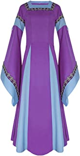 Zhhlaixing Medieval Costume Women Dress Long Sleeve Vintage Renaissance Dress Flare Sleeve Fancy Dress with Embroidery Halloween Costume
