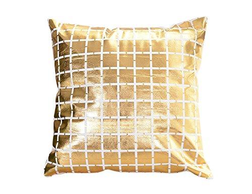 KIMSAI eenvoudige stijl warm goud patroon decoratieve geometrische dikke flanel kussensloop bank kussensloop 45 * 45 cm
