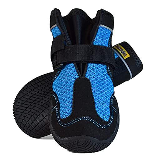 Muttluks Mud Monsters Summer Dog Boots – Rugged Barefoot Technology – Protects Paws – Flexible Rubber Soles, Traction Treads – Pet Booties – 2 Pack – Blue, X-Large
