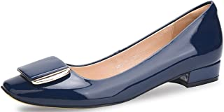 WSKEISP Womens Low Block Heel Chunky Pumps Shoes, Slip on Square Toe Flats Office Evening Dress Shoes