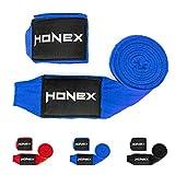 HONEX Vendas de boxeo de lucha de 4 metros, semielásticas de calidad profesional para boxeo, 40 cm, con cierre de velcro extra ancho (azul)