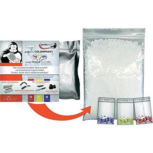 Gorilla Plastic Modelliermasse Biokunststoff HB100 Color Paket Starter Set für Modellbau, Basteln, Reparieren, Abformen – weich formbar, hartes Ergebnis, Immer wiederverwendbar.
