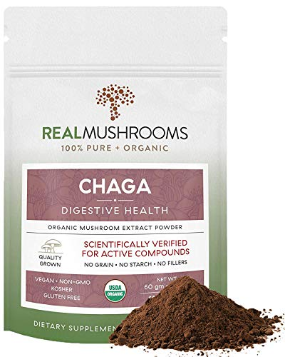 Chaga Mushroom Powder, 60g Organic, Vegan & Non-GMO Chaga Extract Supplement for Immunity & Digestion, Potent Antioxidant, Verified Levels of Beta-Glucans, 60-Day Supply