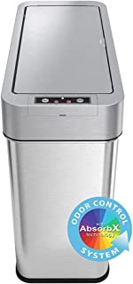 iTouchless 15 Liter Stainless Steel Automatic Trash, Space-Saving Bin for Bathroom, Kitchen, Office, Hotel 4 Gallon Slim G...