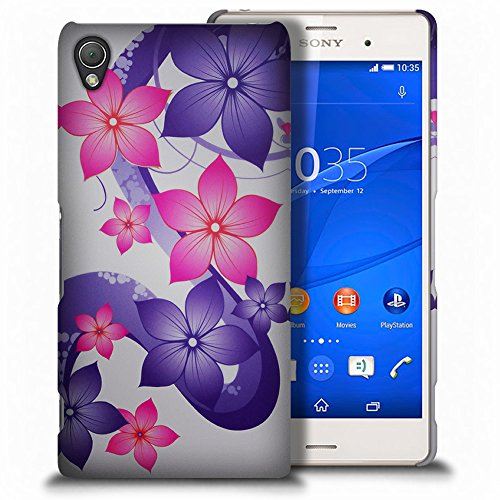 Xperia Z3V Case, CoverON for Sony Xperia Z3V Hard Case Slim Fit Back Cover (Will Not Fit Z3 or Z3 Compact) - Pink Purple Hibiscus Flower Design