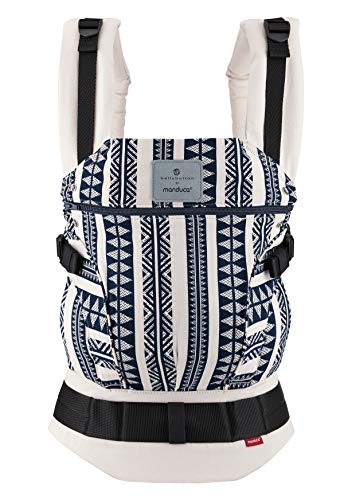 Babytrage bellybutton by manduca First > Boho Blue < Exklusive Designer-Kollektion 2020 I Bio-Baumwolle (Jaquard-Webung) Für Babys und Kleinkinder bis 20kg, blau-weiß gemustert