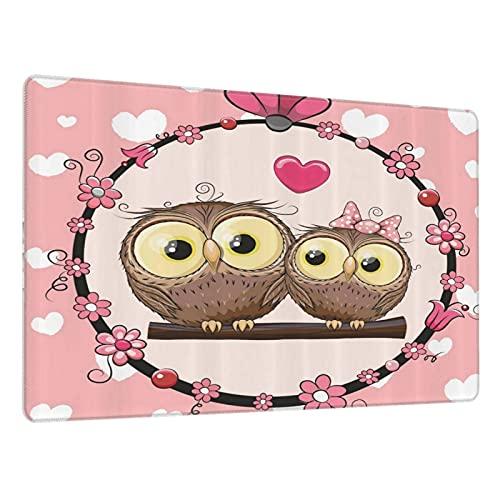 Alfombrilla de ratón Grande para Juegos,Amor Pareja de búho de San Valentín en la Rama de un árbol Guirnalda Floral,Base de Goma Antideslizante,Adecuada para Jugadores,PC y portátil(80 x 30cm)