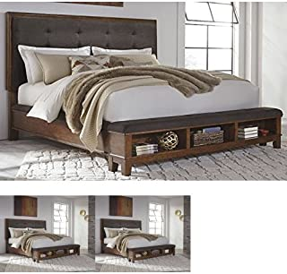 Ashley Furniture Signature Design - Ralene Master Bedroom Upholstered Panel Bedset with Storage - King Size - Medium Brown