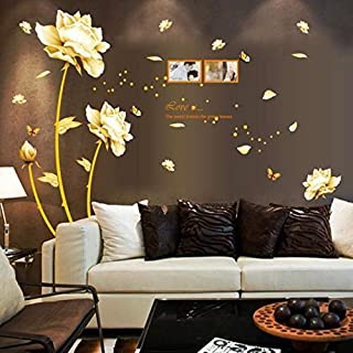 Gold Tulip Flower DIY PVC Wall Stickers Removable Decal Home Decor DIY Art Decoration Sticker Wallpapers