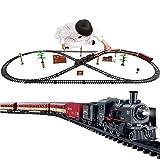 N / C Kit de Tren eléctrico para niños, con Sonidos de Tren realistas, Humo Ligero, fácil de Montar, Kit de riel de Motor de Locomotora de Vapor, Regalos para niños y niñas Mayores de 3 años