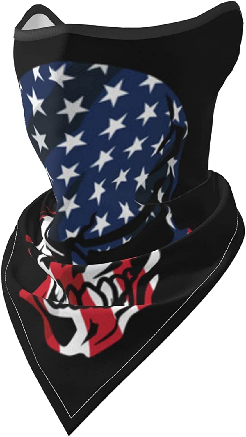 American Flag Skull Isolated Breathable Bandana Face Mask Neck Gaiter Windproof Sports Mask Scarf Headwear for Men Women Outdoor Hiking Cycling Running Motorcycling