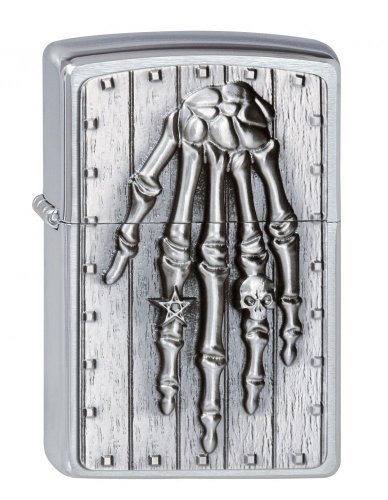 Zippo lighter, Skeleton Hand, 3-D Emblem, Chrome, NEW, MIB