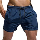 TOFERN Solid Color Beach Board Shorts Adjustable Drawstring Men Athletic Shorts Bathing Suit