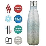 olyee Vakuum-isolierte Wasserflasche 500 ml Glitzer doppelwandige Edelstahl-Flasche auslaufsicher heiß & kalt, Sport-Trinkflasche