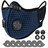 AstroAI Dust Mask Reusable Face Mask with Filters - Adjustable for Woodworking, Construction, Outdoor (Blue, 1 Mask + 6 Extra Activated Carbon Filters Included)