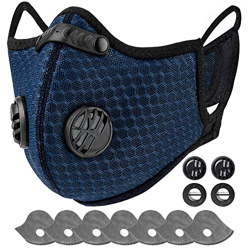AstroAI Dust Mask Reusable Face Mask with Filters,Adjustable for Woodworking, Construction, Outdoor (Blue, 1 Mask + 6 Extra Activated Carbon Filters Included)