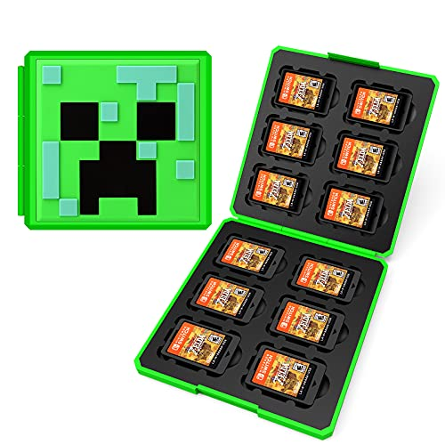 UFOPETIE Game Storage Box for Switch Game Cards Minecraft Games Cube up to 12 Games,Applicable with Nintendo Switch Minecraft Theme,for Foldable Nintendo Switch Game Card Case-Minecraft Creeper