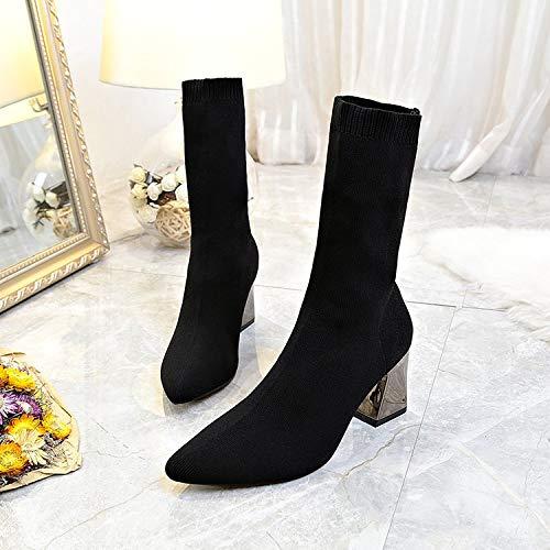 Shukun enkellaarsjes met hoge hakken, laarzen, puntige laarzen, dames lente en herfst, Martin laarzen, vrouwen dik met dunne en enkellaarzen