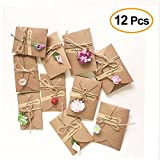IHRKleid 12 Stück Handgemachtes Retro danken Ihnen Karten mit Getrockneten Blumen, Aufkleber und...