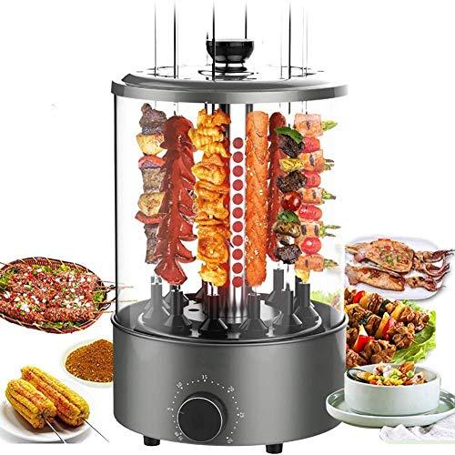 Horno de asador de asador Vertical de 1100 W Parrilla de Barbacoa eléctrica Inteligente Sin Humo Máquina de Kebab giratoria automática Encimera Parrilla de brocheta de Acero Inoxidable