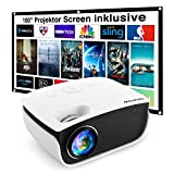 Mini Beamer 5500 Lumen, NICPOW Heimkino Beamer mit Screen, Support 1080P Full HD mit 240' Display, 65000 Stunden LED Projektor kompatibel mit HDMI/USB/SD/AV/VGA, iOS/Android Smartphone