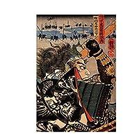 日本の侍アートフィルムプリントポスター家の壁の装飾キャンバス壁アートポスター絵画絵キャンバスに印刷60x80cmフレームなし