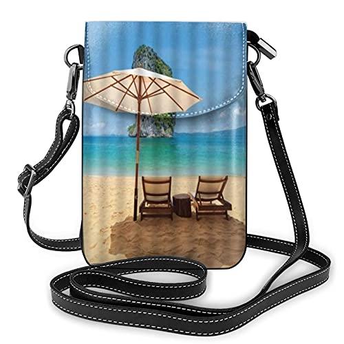 ADONINELP Bolso de Cuero para teléfono Bolso Bandolera Cielo Azul Agua de mar Fresca Sol y Arena Sillón reclinable pequeño Bolso Bandolera Monedero para teléfono Celular Cartera Bolsos de Hombro Bols