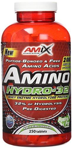 AMIX - Suplemento Alimenticio Amino Hydro 32 - Incrementa la Fuerza y Desarrolla la Capacidad Muscular - Suplemento con Aminoácidos Puros Hidrolizados - 250 Tabletas