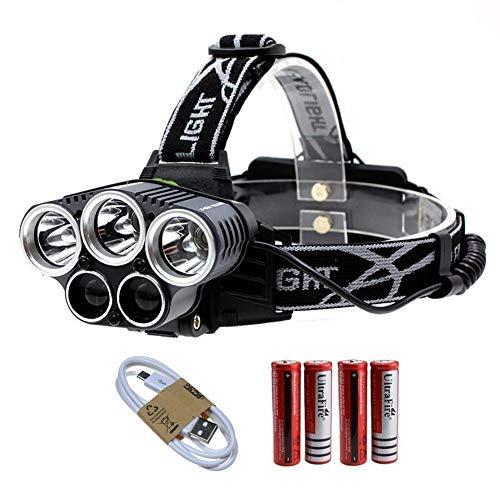 YHTSPORT Linterna Frontal,Recargable 6 Modos 4000 lúmenes 5 Faros LED T6, Cable USB Incluido y 4 baterías 18650, Ciclistas de MTB, Correr, Caminar, Acampar