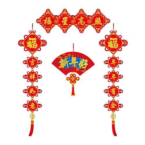 WeiX Bandera de Navidad,Coplas del Festival de,pareados Festival de bendición Pegatinas de Pared Colgantes Decoración, para el Festival de Primavera Fiestas de Año Nuevo Bodas,Gris