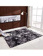 Decdeal Ultra Soft Tie-Dye Style Gradient Color Carpet Floor Bedroom Mat Rectangle Shape Fluffy Rug for Living Room Bedroom Balcony Hallway Mat