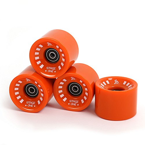 Jan Banan® Longboard Rollen Set Orange, 4 Ersatzrollen inkl. Premium ABEC 7 Kugellager und Metall Spacer, 70mm - 82A, Stage One Wheels