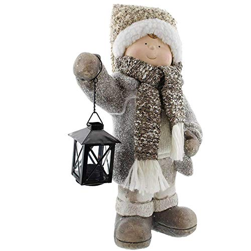 SIDCO Junge mit Laterne Deko Figur Windlicht Wichtel Winter Weihnachten Kerzenhalter