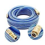 Wiltec PVC Druckluftschlauch mit Schnellkupplung, 15 Meter Länge, Benzin- & Ölbeständig