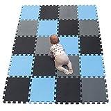 YIMINYUER Esterilla Puzzle de Fitness 30x30x1cm Suelo de Gimnasio de Goma Espuma EVA Negro Azul Gris R04R07R12G301020