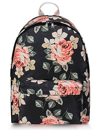 Leaper Water Resistant Floral Backpack Women School Bag Travel Daypack Black