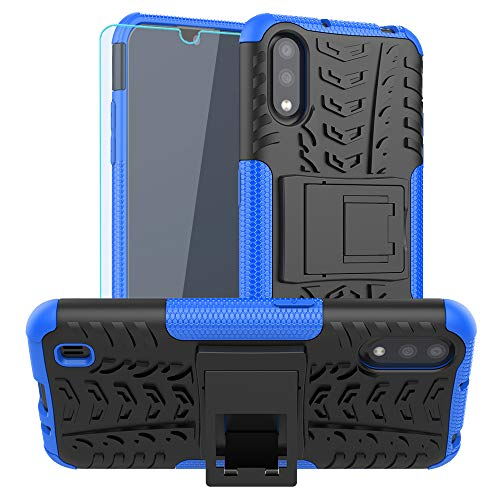 Galaxy A01 Case, with HD Screen Protector, SKTGSLAMY [Shockproof] Tough Rugged Dual Layer Protective Case Hybrid Kickstand Cover for Samsung Galaxy A01 (Blue)