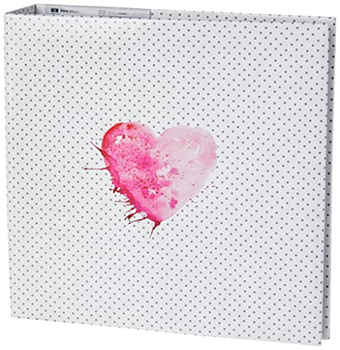 Hama Album traditionnel 'Lazise' (taille de l'album de 22,5 x 22 cm, pour 200 photos au format 10 cm x 15 cm, 100 pages, avec pochette CD, élégant) Blanc/Noir/Rose