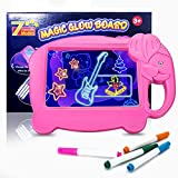 Neon Led Light Drawing Board for Kids, Cute Elephant Shaped Illuminated Erasable Led Message Glowing Writing Board with 4 Fluorescent Markers, for 2 3 4 5 6 Years Old Girls and Boys Gift (Pink)