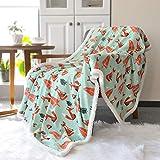 BORITAR Sherpa Decke Flauschige Kucheldecke für Kleinkindbett Super Weich Warm Wohndecke Ultra luxuriöse Fleece Sofadecke, Extrem Warm mit Doppelt Genäht Zweiseitige Fox Babydecke 125x150cm