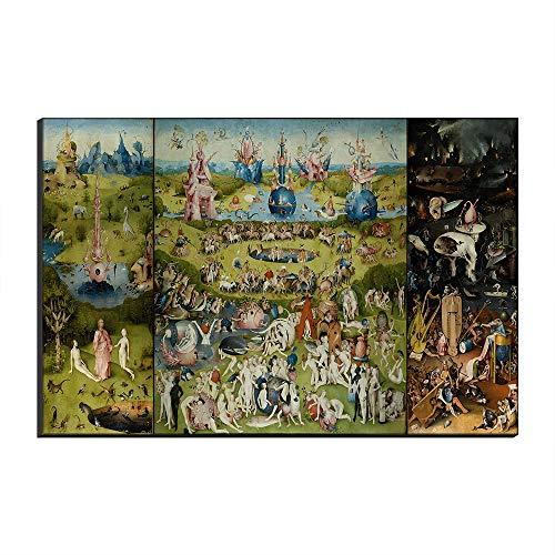 Five-Seller Jardín De Las Delicias Terrestres De Hieronymus Bosch Lienzo Cuadros Famosos Reproducción De Arte Impreso En Lienzo Arte De Pared Arte para Decoraciones para El Hogar (50_x_70_cm)