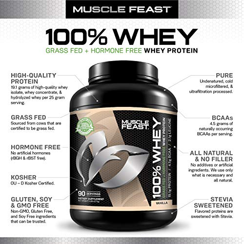 Muscle Feast 100% Whey Protein Blend, Grass Fed & Hormone Free, Blend of Concentrate, Isolate, and Hydrolyzed Whey Protein (5lb, Vanilla)