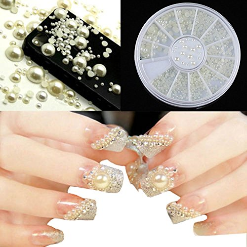 Phoenix B2C UK - Perle e brillantini 3D per decorazione unghie, in contenitore a ruota, 3 misure, colore: bianco