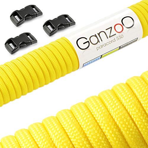 Ganzoo Paracorde 550 Corde avec Fermeture, pour Bracelet ou Collier de Chien, 31 mètres