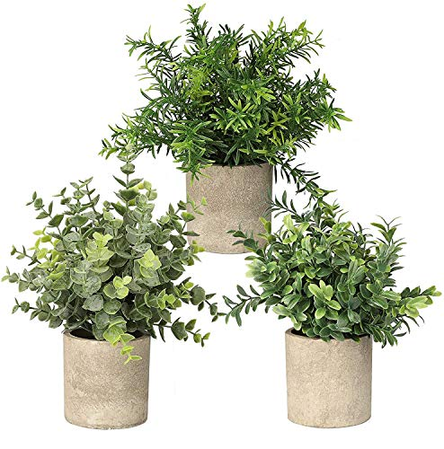 Topcloud Paquete de 3 plantas artificiales artificiales artificiales artificiales de eucalipto, plantas de romero, para el hogar, oficina, mesa, dormitorio, decoración interior y exterior