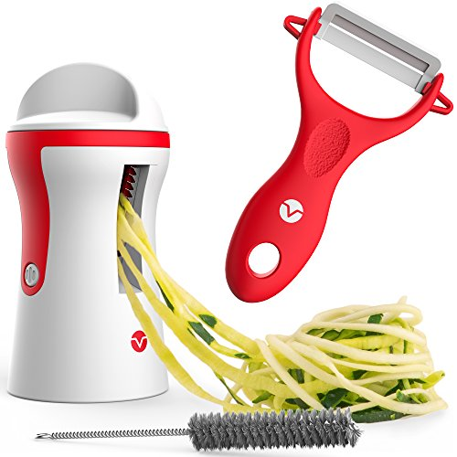 Vremi Spiralizer Vegetable Slicer - Handheld Spiralizer Peeler Set - 3 Blade Hand Spiral Slicer Apple or Zucchini Spaghetti Maker - Stainless Steel Mandoline Slicer for Potatoes - Red and White