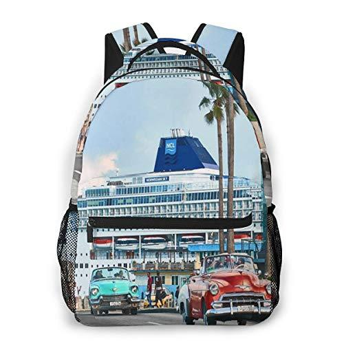 Rucksack Männer und Damen, Laptop Rucksäcke für 14 Zoll Notebook, Havanna Kuba Kinderrucksack Schulrucksack Daypack für Herren Frauen